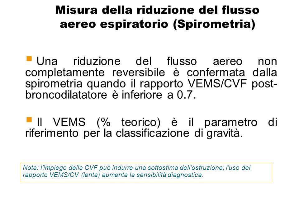 Una riduzione del flusso aereo non completamente reversibile è confermata dalla spirometria quando il rapporto VEMS/CVF post- broncodilatatore è infer