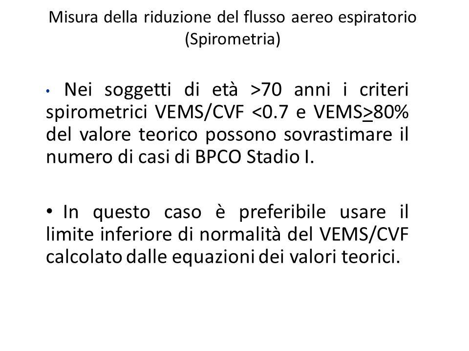 Misura della riduzione del flusso aereo espiratorio (Spirometria) Nei soggetti di età >70 anni i criteri spirometrici VEMS/CVF 80% del valore teorico