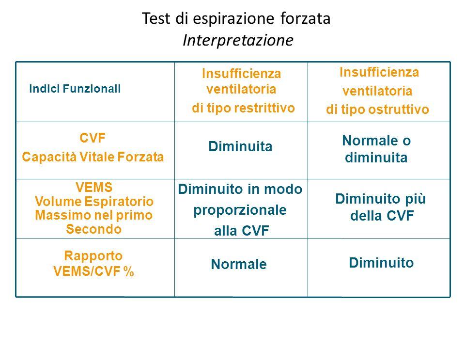 Test di espirazione forzata Interpretazione Rapporto VEMS/CVF % VEMS Volume Espiratorio Massimo nel primo Secondo CVF Capacità Vitale Forzata Indici F