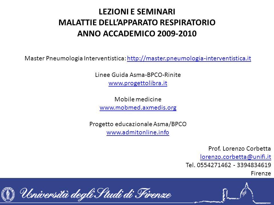 Master Pneumologia Interventistica: http://master.pneumologia-interventistica.it Linee Guida Asma-BPCO-Rinite www.progettolibra.it Mobile medicine www