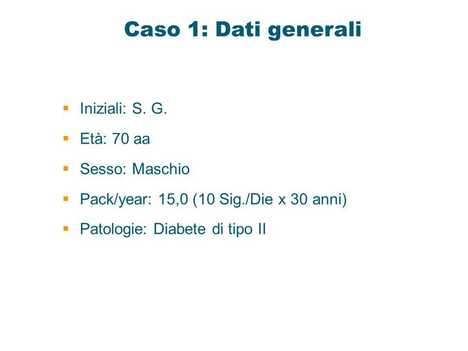 Caso 1: Dati generali Iniziali: S. G. Età: 70 aa Sesso: Maschio Pack/year: 15,0 (10 Sig./Die x 30 anni) Patologie: Diabete di tipo II