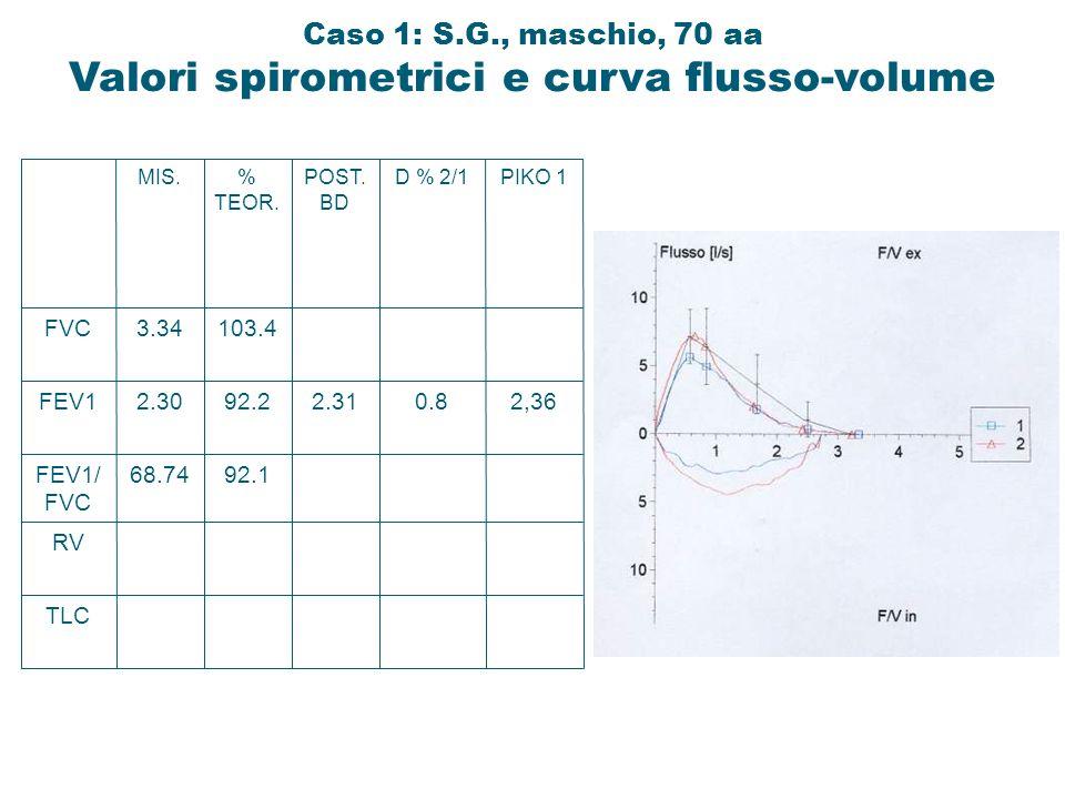 TLC RV FEV1/ FVC FEV1 FVC 68.74 2.30 3.34 MIS. 92.1 92.2 103.4 % TEOR. 2.31 POST. BD 0.8 D % 2/1 2,36 PIKO 1 Caso 1: S.G., maschio, 70 aa Valori spiro