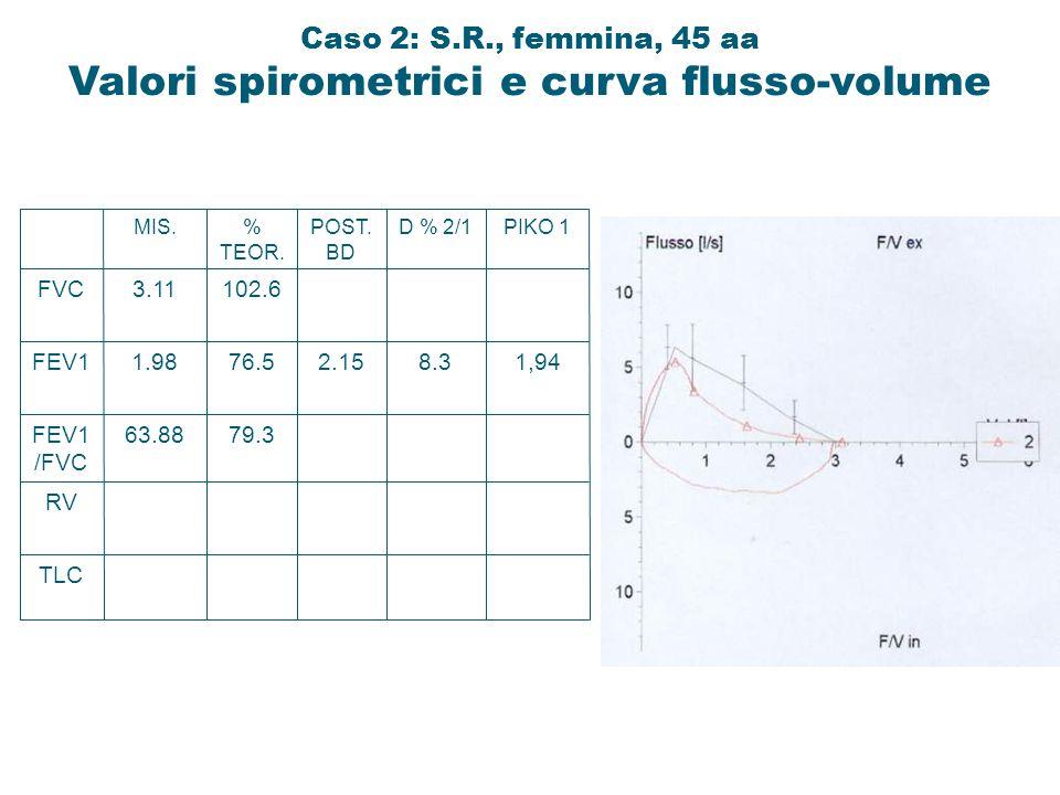 TLC RV FEV1 /FVC FEV1 FVC 63.88 1.98 3.11 MIS. 79.3 76.5 102.6 % TEOR. 2.15 POST. BD 8.3 D % 2/1 1,94 PIKO 1 Caso 2: S.R., femmina, 45 aa Valori spiro