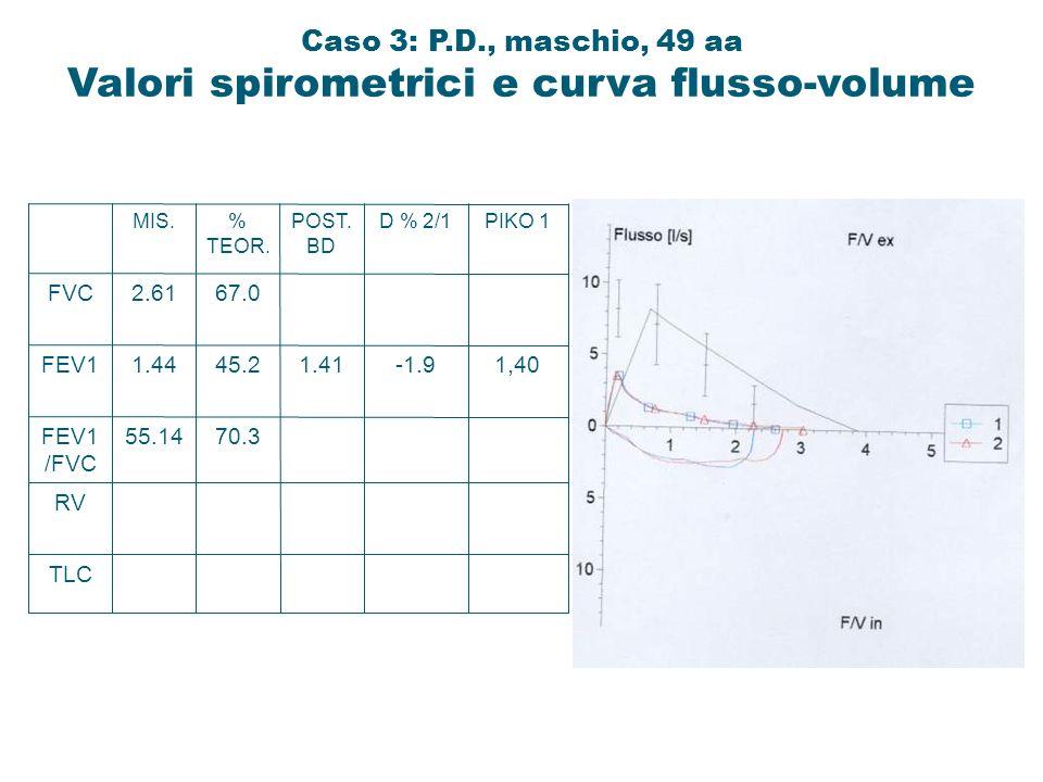 TLC RV FEV1 /FVC FEV1 FVC 55.14 1.44 2.61 MIS. 70.3 45.2 67.0 % TEOR. 1.41 POST. BD -1.9 D % 2/1 1,40 PIKO 1 Caso 3: P.D., maschio, 49 aa Valori spiro