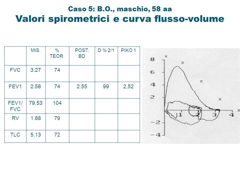TLC RV FEV1/ FVC FEV1 FVC 5.13 1.88 79.53 2.58 3.27 MIS. 72 79 104 74 % TEOR. 2.55 POST. BD 99 D % 2/1 2,52 PIKO 1 Caso 5: B.O., maschio, 58 aa Valori