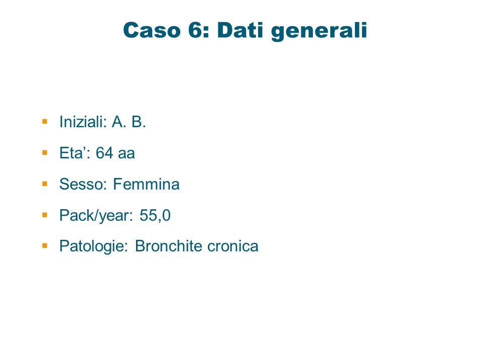 Caso 6: Dati generali Iniziali: A. B. Eta: 64 aa Sesso: Femmina Pack/year: 55,0 Patologie: Bronchite cronica