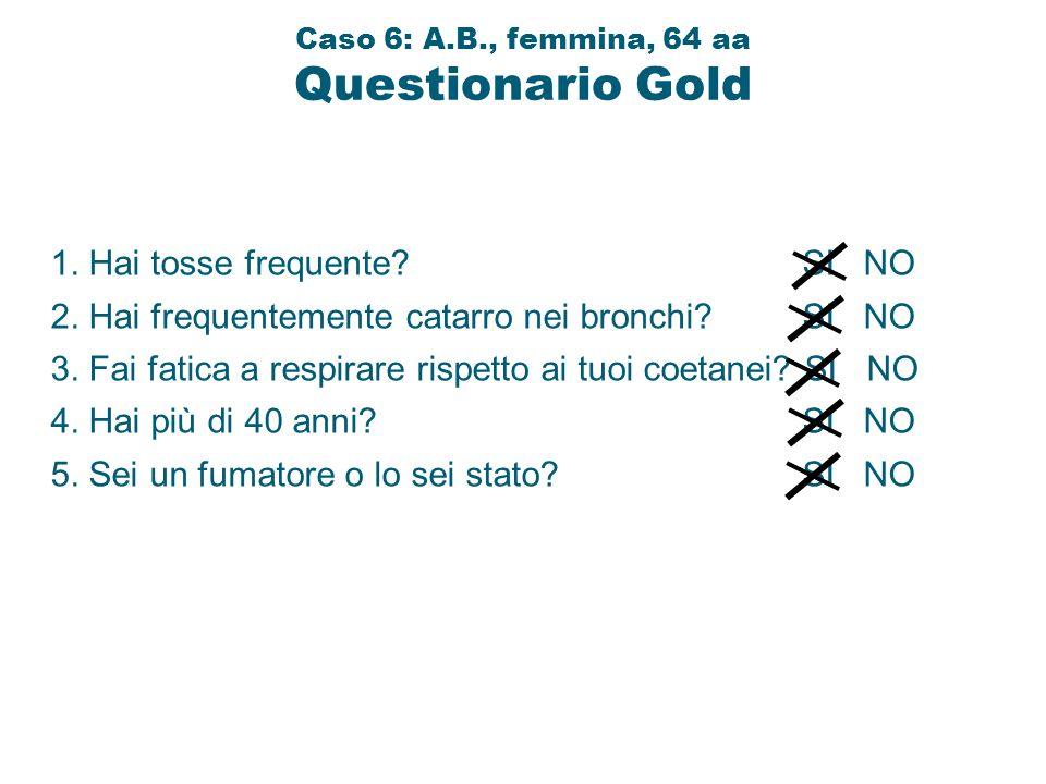 1. Hai tosse frequente? SI NO 2. Hai frequentemente catarro nei bronchi? SI NO 3. Fai fatica a respirare rispetto ai tuoi coetanei? SI NO 4. Hai più d