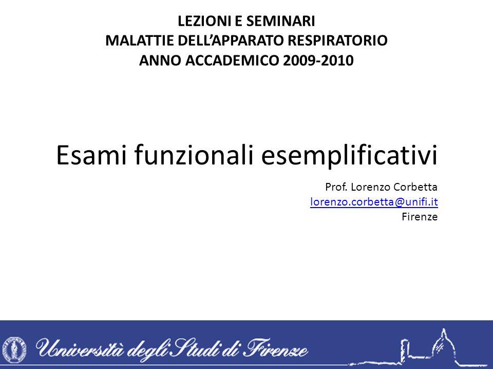 Esami funzionali esemplificativi LEZIONI E SEMINARI MALATTIE DELLAPPARATO RESPIRATORIO ANNO ACCADEMICO 2009-2010 Prof. Lorenzo Corbetta lorenzo.corbet
