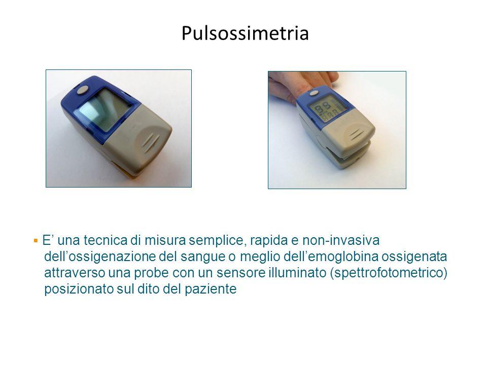 Pulsossimetria E una tecnica di misura semplice, rapida e non-invasiva dellossigenazione del sangue o meglio dellemoglobina ossigenata attraverso una