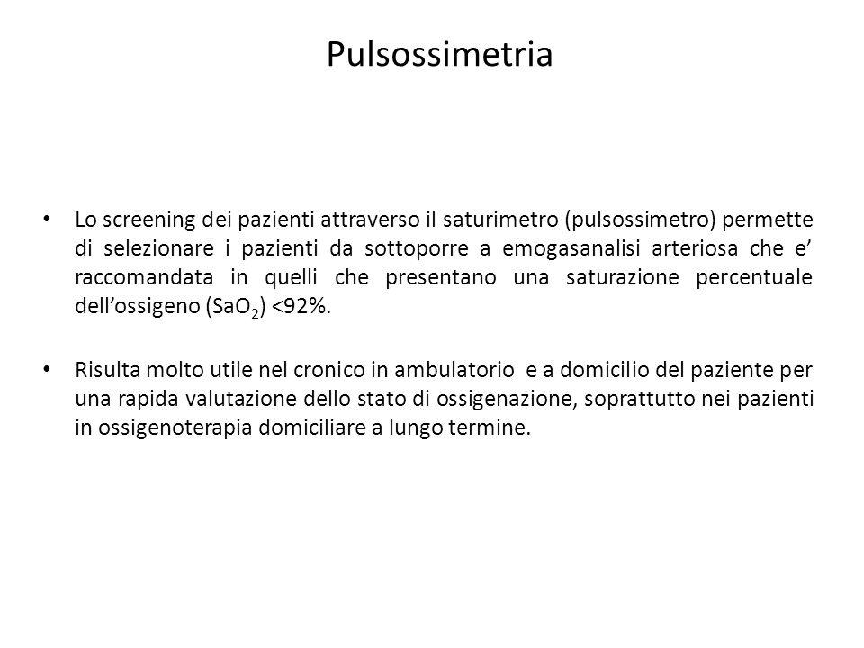 Pulsossimetria Lo screening dei pazienti attraverso il saturimetro (pulsossimetro) permette di selezionare i pazienti da sottoporre a emogasanalisi ar