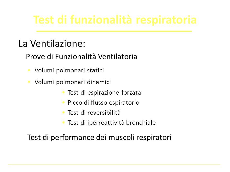 La Ventilazione: Prove di Funzionalità Ventilatoria Volumi polmonari statici Volumi polmonari dinamici Test di espirazione forzata Picco di flusso esp