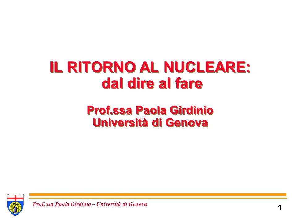 32 Prof. ssa Paola Girdinio – Università di Genova