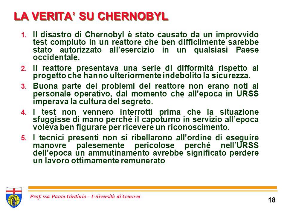 18 Prof.ssa Paola Girdinio – Università di Genova LA VERITA SU CHERNOBYL 1.