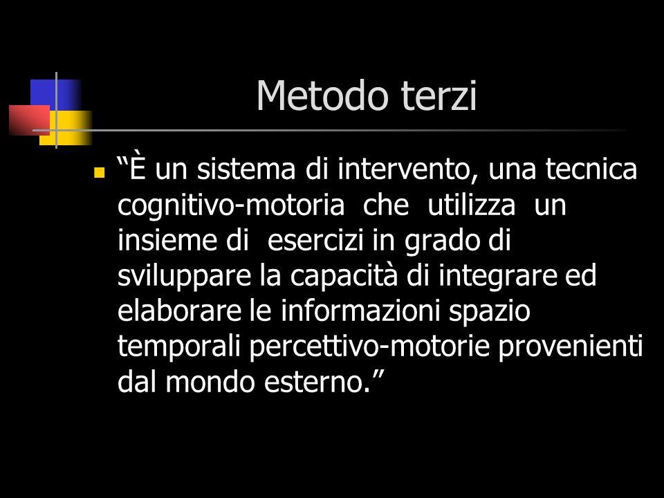 Metodo terzi È un sistema di intervento, una tecnica cognitivo-motoria che utilizza un insieme di esercizi in grado di sviluppare la capacità di integ