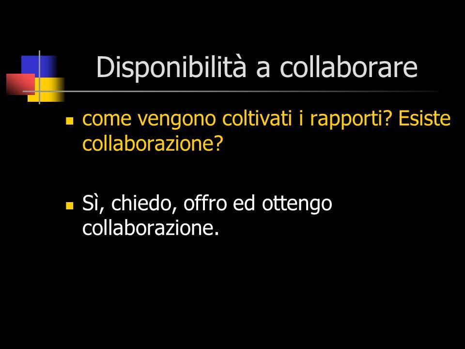 Disponibilità a collaborare come vengono coltivati i rapporti? Esiste collaborazione? Sì, chiedo, offro ed ottengo collaborazione.