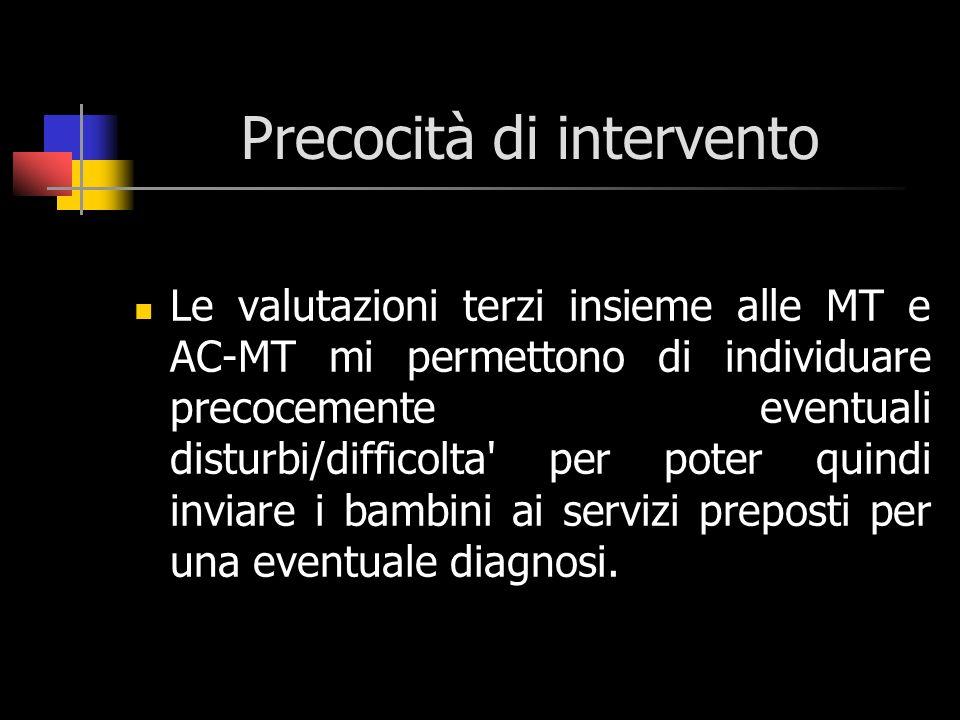 Precocità di intervento Le valutazioni terzi insieme alle MT e AC-MT mi permettono di individuare precocemente eventuali disturbi/difficolta' per pote