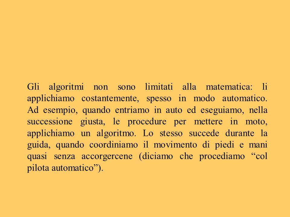 Gli algoritmi non sono limitati alla matematica: li applichiamo costantemente, spesso in modo automatico. Ad esempio, quando entriamo in auto ed esegu
