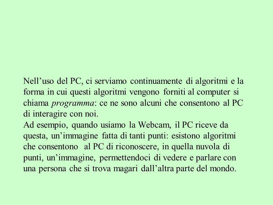 Nelluso del PC, ci serviamo continuamente di algoritmi e la forma in cui questi algoritmi vengono forniti al computer si chiama programma: ce ne sono