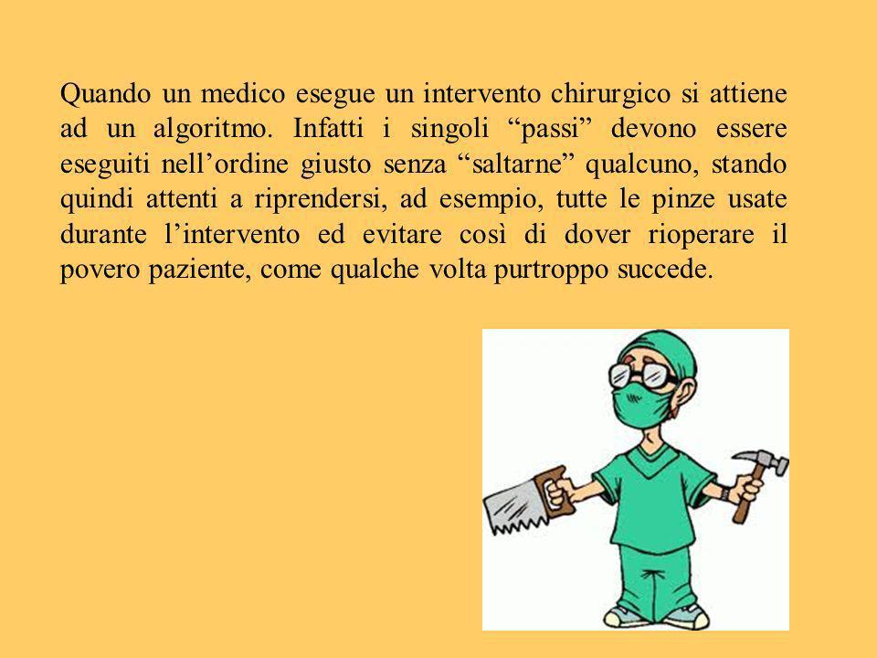 Quando un medico esegue un intervento chirurgico si attiene ad un algoritmo. Infatti i singoli passi devono essere eseguiti nellordine giusto senza sa
