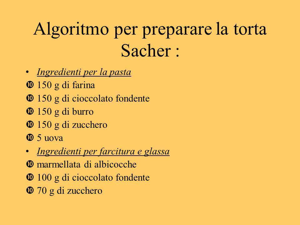Algoritmo per preparare la torta Sacher : Ingredienti per la pasta 150 g di farina 150 g di cioccolato fondente 150 g di burro 150 g di zucchero 5 uov