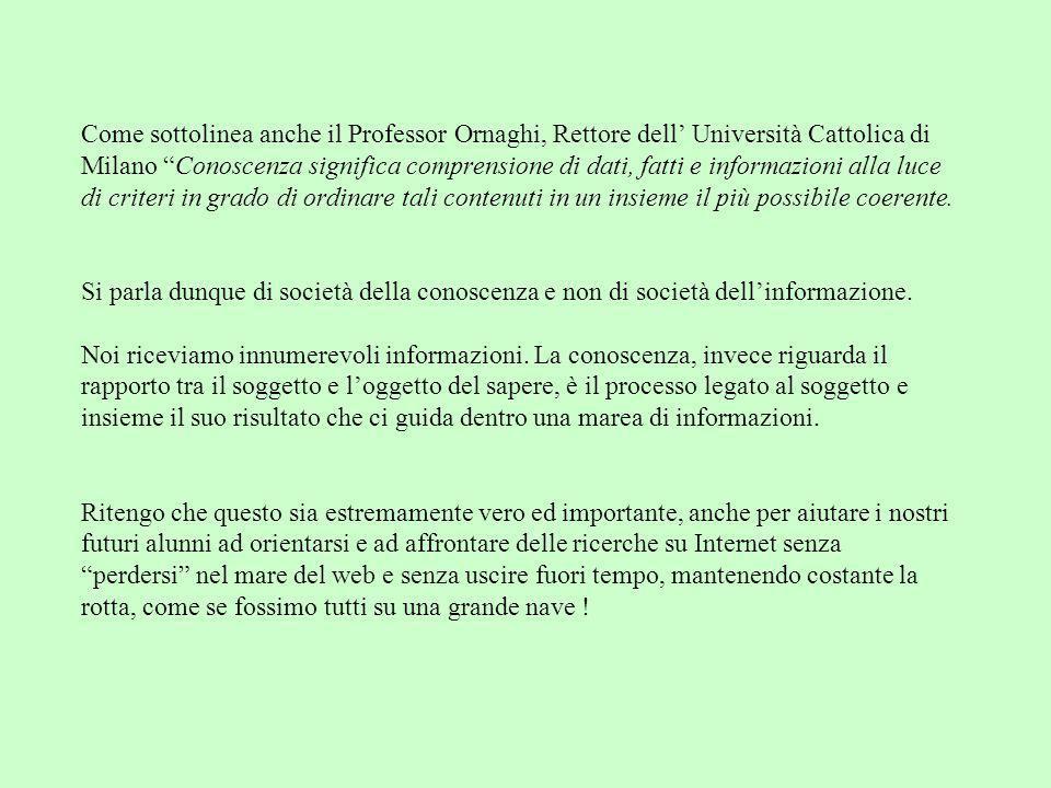 Come sottolinea anche il Professor Ornaghi, Rettore dell Università Cattolica di Milano Conoscenza significa comprensione di dati, fatti e informazion