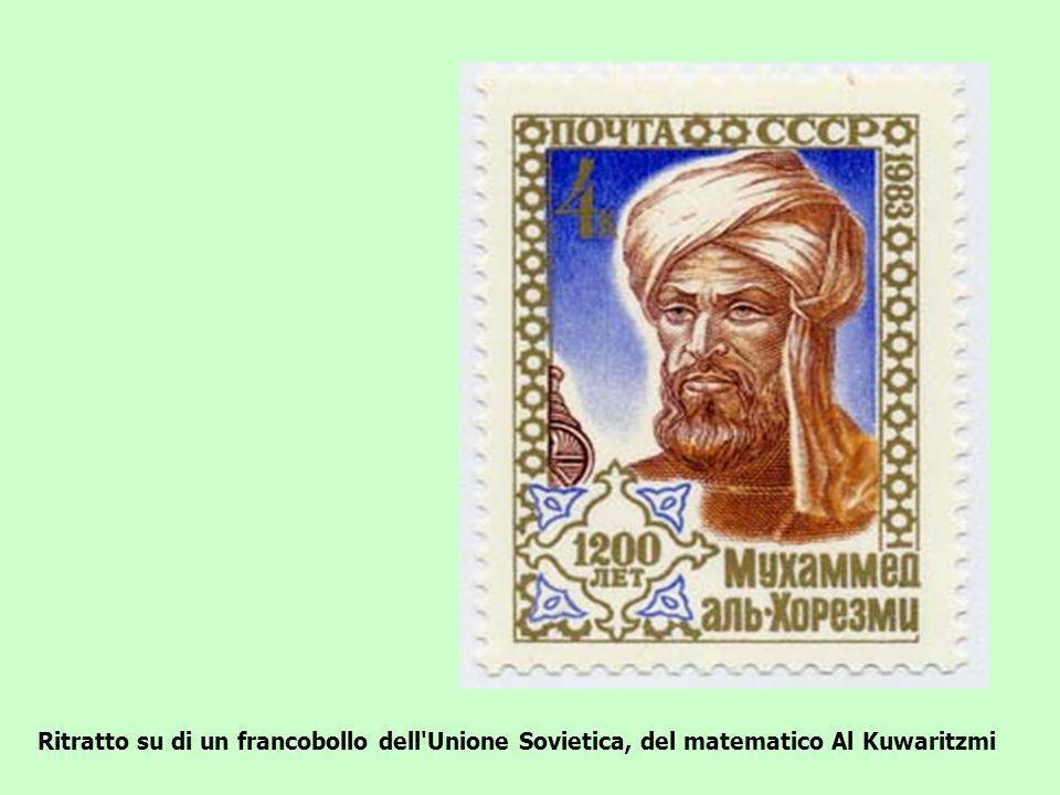 Ritratto su di un francobollo dell'Unione Sovietica, del matematico Al Kuwaritzmi
