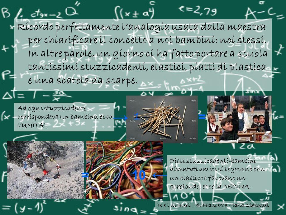 Io e i numeri… di Francesca Maria Giacomel Ricordo perfettamente lanalogia usata dalla maestra per chiarificare il concetto a noi bambini: noi stessi.