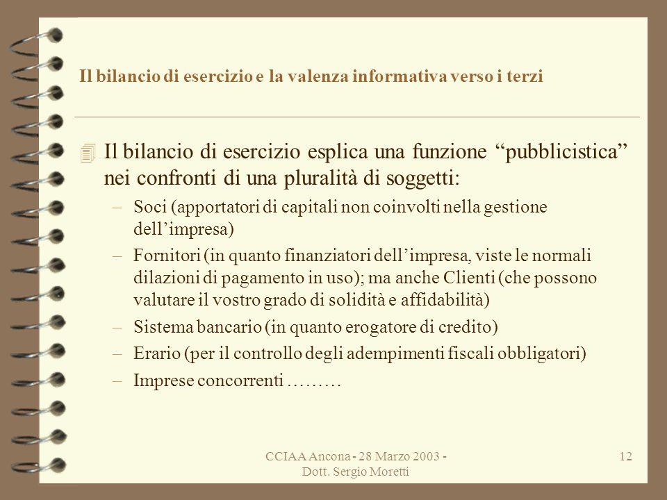 CCIAA Ancona - 28 Marzo 2003 - Dott. Sergio Moretti 11 Il bilancio di esercizio e la valenza informativa verso i terzi 4 Alla stessa data in cui formi