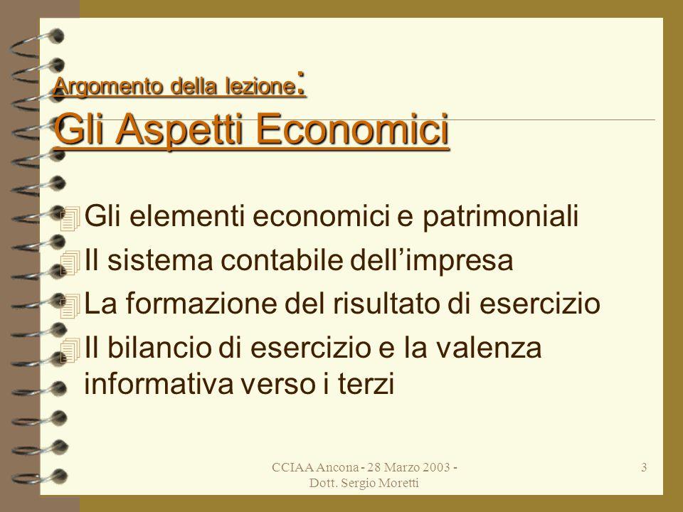 CCIAA Ancona - 28 Marzo 2003 - Dott. Sergio Moretti 2 Presentazione UNIONSERVICE s.c. a r.l. Dott. Sergio Moretti commercialista