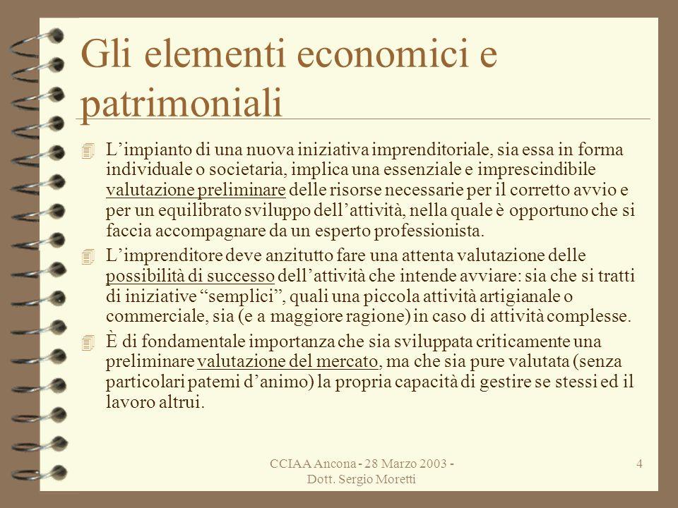 CCIAA Ancona - 28 Marzo 2003 - Dott. Sergio Moretti 3 Argomento della lezione : Gli Aspetti Economici 4 Gli elementi economici e patrimoniali 4 Il sis
