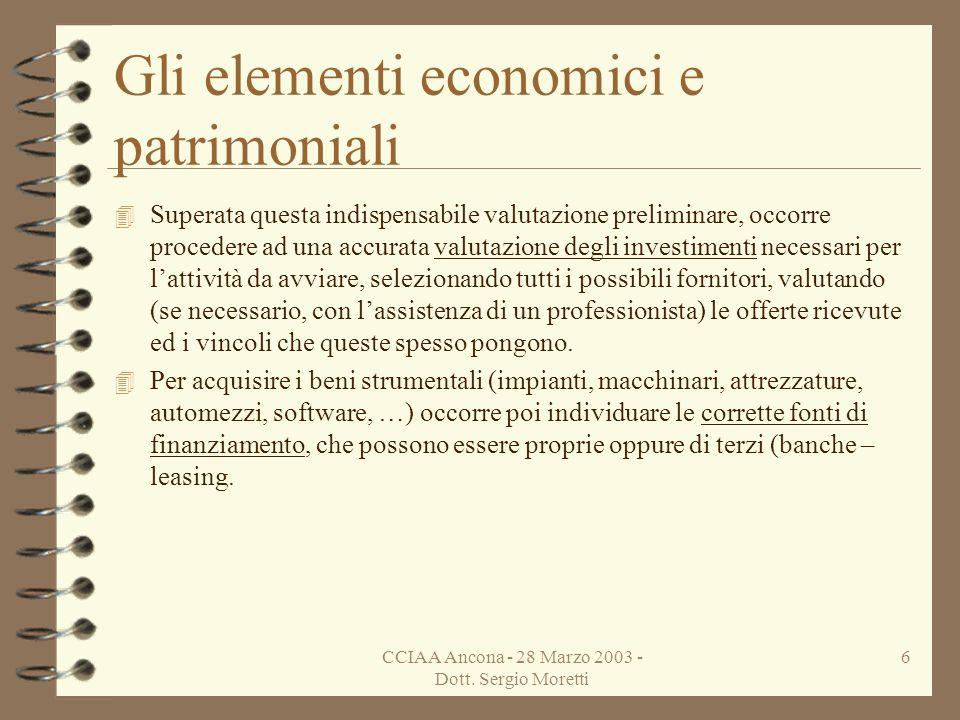 CCIAA Ancona - 28 Marzo 2003 - Dott. Sergio Moretti 5 Gli elementi economici e patrimoniali 4 Troppo spesso accade di considerare lattività di impresa
