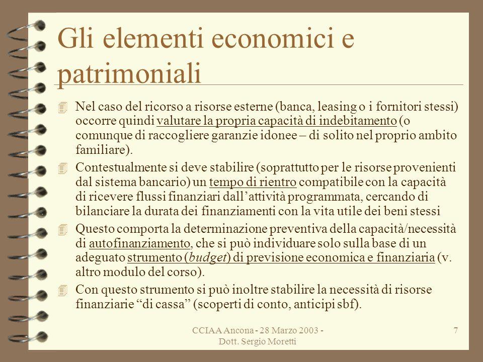 CCIAA Ancona - 28 Marzo 2003 - Dott. Sergio Moretti 6 Gli elementi economici e patrimoniali 4 Superata questa indispensabile valutazione preliminare,