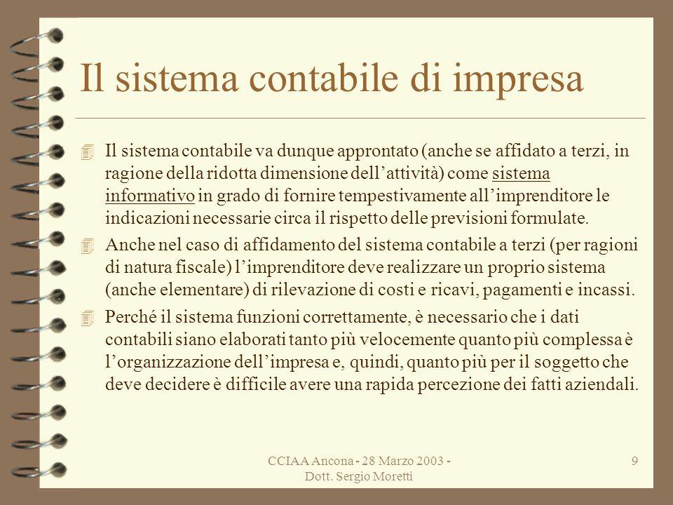 CCIAA Ancona - 28 Marzo 2003 - Dott. Sergio Moretti 8 Il sistema contabile di impresa 4 Con lavvio dellattività limpresa deve essere dotata di un sist