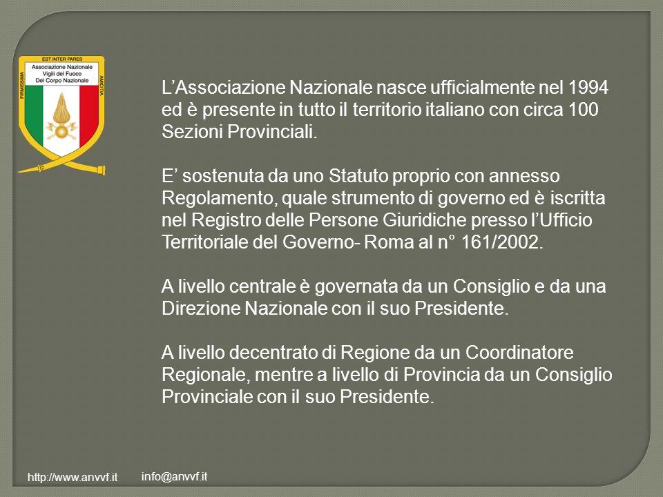 http://www.anvvf.it info@anvvf.it LAssociazione Nazionale nasce ufficialmente nel 1994 ed è presente in tutto il territorio italiano con circa 100 Sez