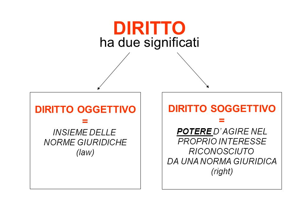 DIRITTO ha due significati DIRITTO OGGETTIVO = INSIEME DELLE NORME GIURIDICHE (law) DIRITTO SOGGETTIVO = POTERE D AGIRE NEL PROPRIO INTERESSE RICONOSC