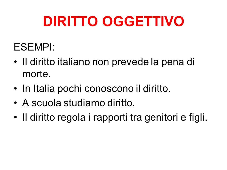DIRITTO OGGETTIVO ESEMPI: Il diritto italiano non prevede la pena di morte. In Italia pochi conoscono il diritto. A scuola studiamo diritto. Il diritt
