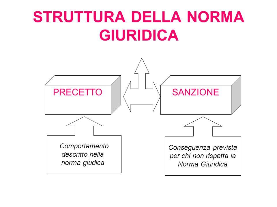 STRUTTURA DELLA NORMA GIURIDICA PRECETTOSANZIONE Comportamento descritto nella norma giudica Conseguenza prevista per chi non rispetta la Norma Giurid