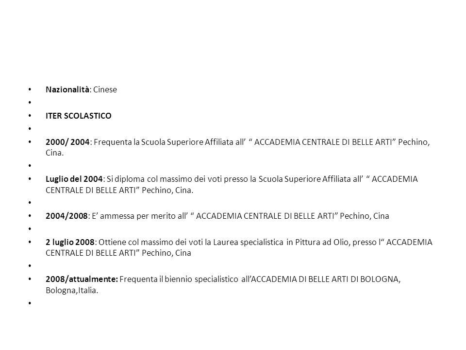 ATTIVITA ARTISTICA E RICONOSCIMENTI Gennaio 2005: Si classifica al 3° posto in occasione dellesposizione, delle Migliori Opere dell Accademia : l opera e conservata nella Galleria dArte dellAccademia.