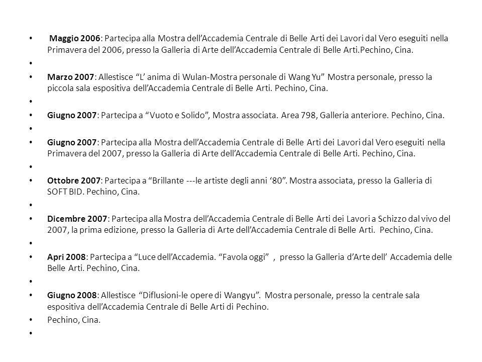 Ottobre 2008: Allestisce Diffusioni- dellartista cinese Wang Yu.