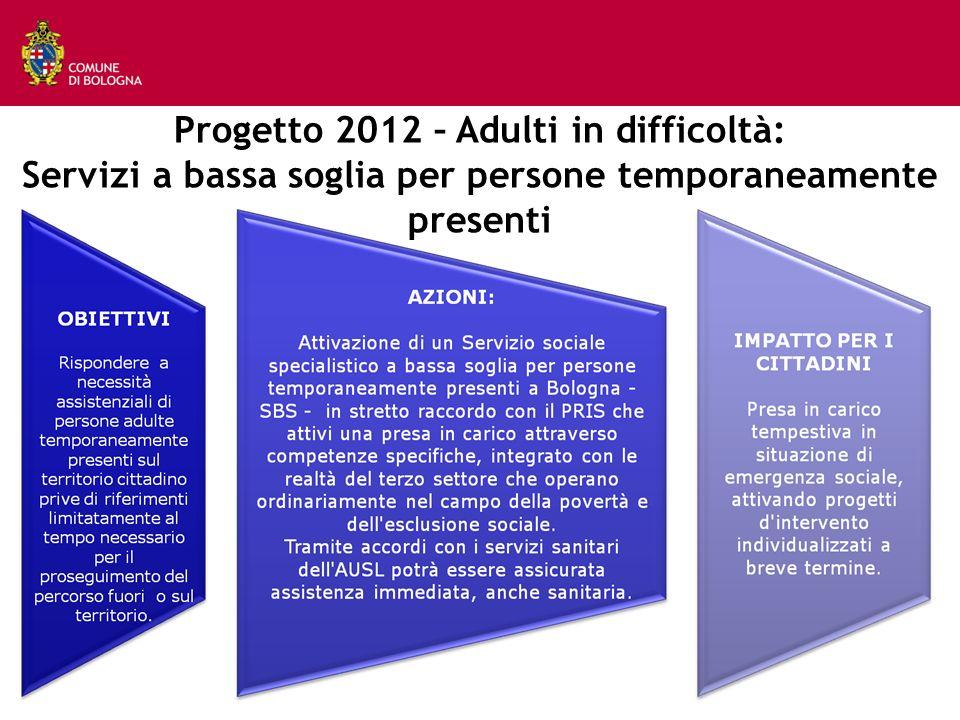 Progetto 2012 – Adulti in difficoltà: Servizi a bassa soglia per persone temporaneamente presenti