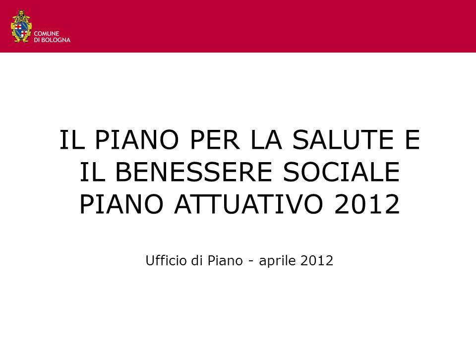 IL PIANO PER LA SALUTE E IL BENESSERE SOCIALE PIANO ATTUATIVO 2012 Ufficio di Piano - aprile 2012