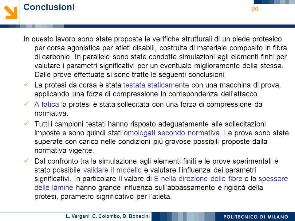 L. Vergani, C. Colombo, D. Bonacini 20 Conclusioni In questo lavoro sono state proposte le verifiche strutturali di un piede protesico per corsa agoni