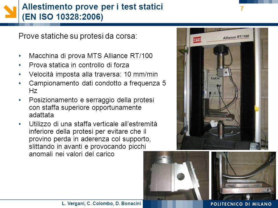 L. Vergani, C. Colombo, D. Bonacini 7 Allestimento prove per i test statici (EN ISO 10328:2006) Prove statiche su protesi da corsa: Macchina di prova