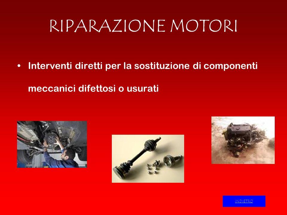 RIPARAZIONE MOTORI Interventi diretti per la sostituzione di componenti meccanici difettosi o usurati INDIETRO