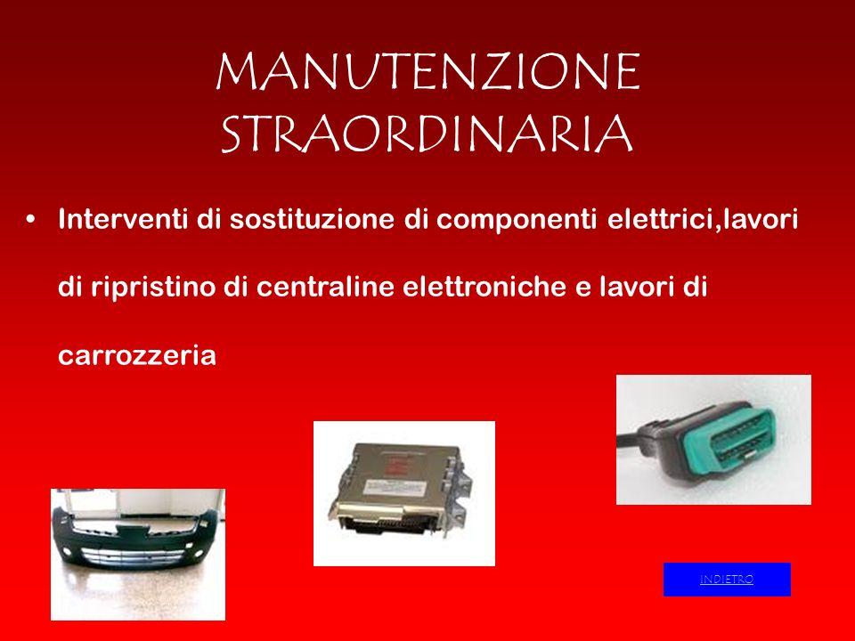 MANUTENZIONE STRAORDINARIA Interventi di sostituzione di componenti elettrici,lavori di ripristino di centraline elettroniche e lavori di carrozzeria