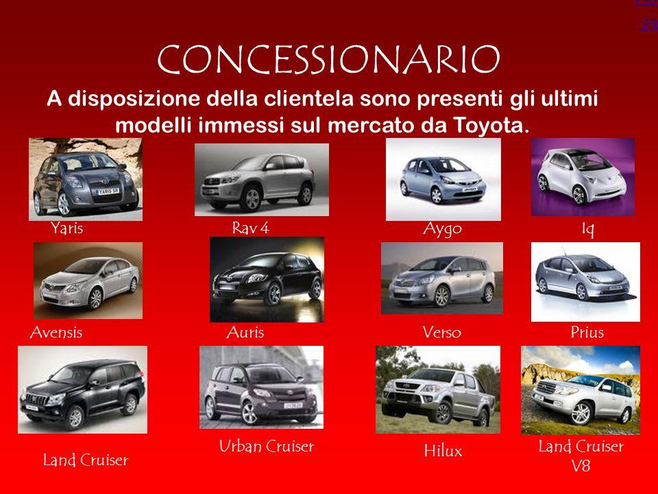CONCESSIONARIO A disposizione della clientela sono presenti gli ultimi modelli immessi sul mercato da Toyota. YarisRav 4Iq VersoAuris Aygo Avensis Lan