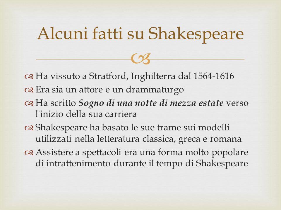 Ha vissuto a Stratford, Inghilterra dal 1564-1616 Era sia un attore e un drammaturgo Ha scritto Sogno di una notte di mezza estate verso l'inizio dell