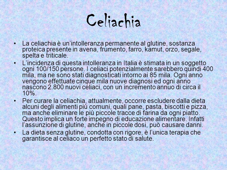 Celiachia La celiachia è unintolleranza permanente al glutine, sostanza proteica presente in avena, frumento, farro, kamut, orzo, segale, spelta e tri
