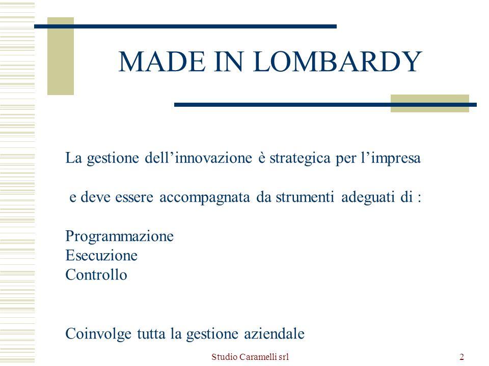 Studio Caramelli srl2 MADE IN LOMBARDY La gestione dellinnovazione è strategica per limpresa e deve essere accompagnata da strumenti adeguati di : Pro