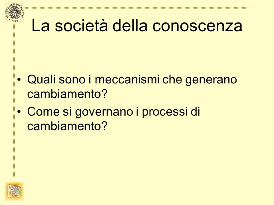 La società della conoscenza Quali sono i meccanismi che generano cambiamento? Come si governano i processi di cambiamento?